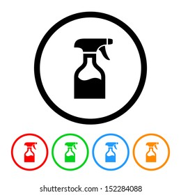 Spray Bottle Icon with Color Variations
