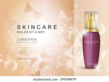 Spray bottle innovations-isolated on brown backdrop.Glamorous cosmetic premium ads,facial treatment essence.3D purple toner,translucent contained.For web site,poster,placard,advert and marketing