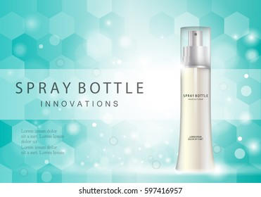 Spray bottle innovations-isolated on green backdrop.Glamorous cosmetic premium ads,facial treatment essence.3D toner,translucent contained.For web site,poster,placard,advert and marketing