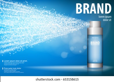 Spray bottle isolated on blue background with soft bokeh. cosmetic premium ads, facial treatment essence. 3D ice spray toner, translucent container, for your design and advertisement