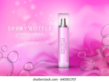 Spray bottle isolated on pink background with bubbles.Premium ads for web site,marketing,social network and blog.Realistic 3d color perfume.For poster template,placard,flyer,cover and wallpaper