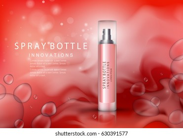Spray bottle isolated on red background with bubbles.Premium ads for web site,marketing,social network and blog.Realistic 3d color perfume.For poster template,placard,flyer,cover and wallpaper