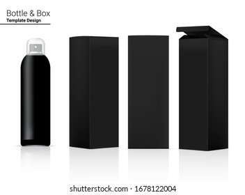 Spray Bottle Mock up Realistic Cosmetic and Box for Skincare Product or medicine on White Background Illustration. Health Care and Medical Concept Design.