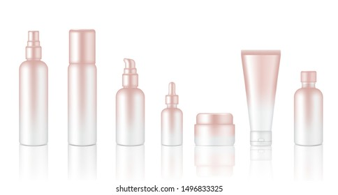 Spray Bottle Mock up Realistic Rose Gold Cosmetic Soap, Shampoo, Cream, Oil Dropper Set for Skincare Product Background Illustration. Health Care and Medical Concept Design.