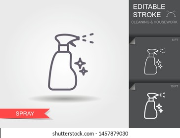 Spray bottle. Outline icon with editable stroke. Linear symbol of the cleaning and housework with shadow
