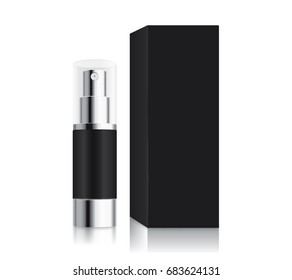 Spray bottle small size black color and box. Ideal for Cosmetic container template and other.