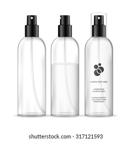 Spray bottles isolated on white background (transparent). Cosmetic container for liquid. Beauty product package, vector illustration.
