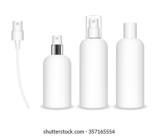 Spray bottles isolated on white background. Cosmetic container for liquid, gel, lotion, cream. Beauty product package, vector illustration.
