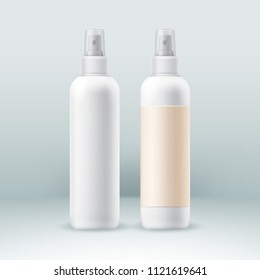 Spray bottles set for professional cosmetic packaging package pack blank vector realistic templates isolated on background