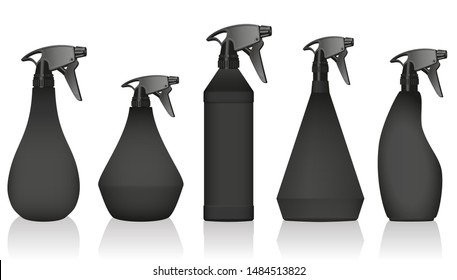 Spray bottles - well known variations with black bodies and pumps. Isolated vector illustration on white background.