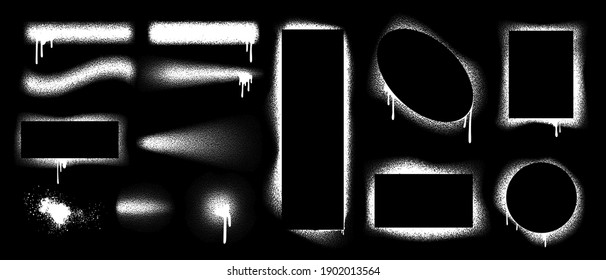 Spray brush border. Stencil graffiti shapes. Grunge airbrush texture. Isolated square and round inky contour forms. Splashes of white paint with smudges on black background. Vector blank templates set