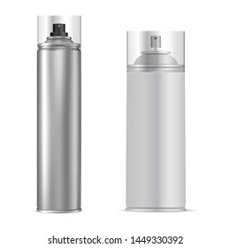 Spray Can. Aluminum Aerosol Tube. Vector Bottle. Antiperspirant or Hairspray Packaging Template. Cylinder Container for Paint, Graffiti. Shiny Air Freshener Design. Silver Tin Mock Up