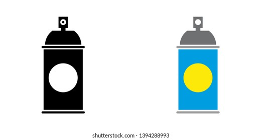 Spray Can Icon in Color and Black Version