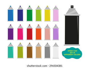 Spray Can Set in different colors. Editable Clip Art.
