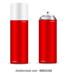 Spray can with and without cap over white