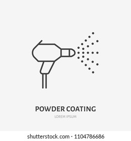 Spray car painting flat line icon. Paint works sign. Thin linear logo for powder coating service.