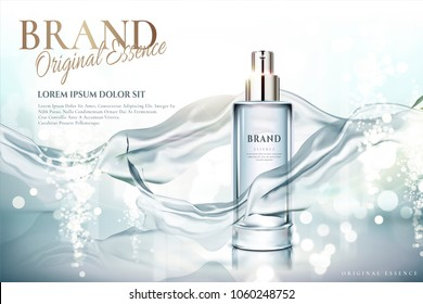 Spray essence ads, glass container with light blue chiffon in 3d illustration, shimmering background