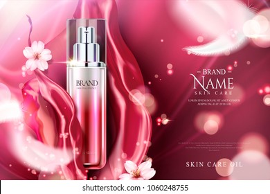Spray essence ads, red gradient container with red satin and pink sakura elements in 3d illustration, glittering particle element