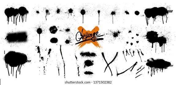 Spray graffiti stencil template. Isolated collection, great elaboration. Black splashes isolated on transparent background.  Paint splats blotches. Round grunge design elements. Spray graffiti set