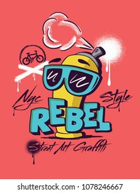 spray. graffiti street art. illustration spray graphic tee design