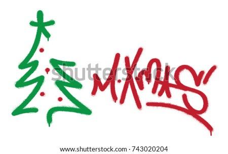 Spray Graffiti Tag M Xmas Abbreviation Merry Stock-Vektorgrafik ...
