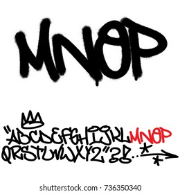 Spray graffiti tagging font. Letters ''M'', ''N'', ''O'', ''P''. Part 4
