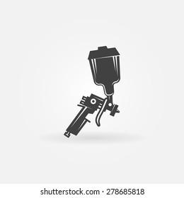 Spray gun icon or logo - black vector sign
