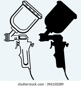 Spray gun. Isolated on blue background. Vector silhouettes