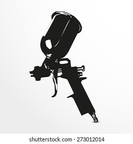 Spray gun. Vector illustration. Black and white view.