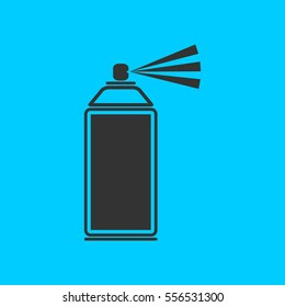 Spray icon flat. Simple vector black pictogram on blue background