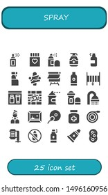 spray icon set. 25 filled spray icons.  Collection Of - Spray paint, Drug, Gel, Cleaning Artist, Canvas, Shampoo, Hose, Graffiti, Deodorant, Shower, Painting, Fertilization