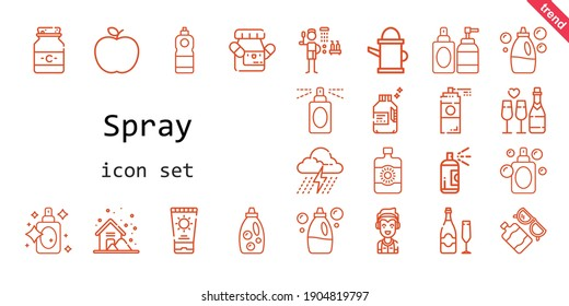 spray icon set. line icon style. spray related icons such as sun lotion, paint spray, shower, storm, marshall, paint, medicine, perfume, detergent, apple, sun cream, champagne, watering can,
