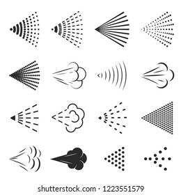 Spray icon set, small drops of liquid in the air. Different types of dot effect. Vector line art illustration isolated on white background