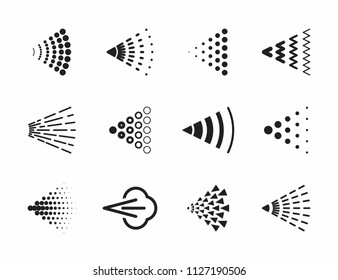 Spray icons set for water, perfume, paint or deodorant spray, vector illustration