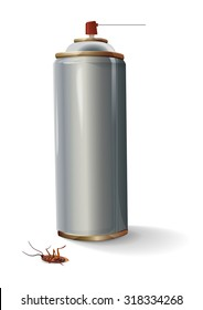 Spray insect, illustration with a can of spray and dead cockroaches