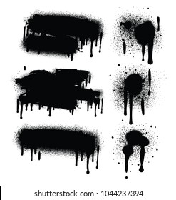 Spray Paint Abstract Vector Elements isolated on White Background. Lines and Drips Set. Street style.