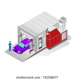 Spray Paint Booth for painting the car and its body parts, car service isometric image