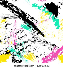 spray paint, Brush stroke seamless pattern. Summer, spring bright texture for fabric, prints, cloth. Chaotic free hand composition
