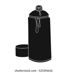 Spray paint can icon in black style isolated on white background. Artist and drawing symbol stock vector illustration.