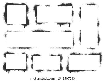 Spray paint graffiti stencil frames. Black airbrushing paint banner, stenciling backdrop and spray paint texture borders. Brush splash abstract rectangular stencil border. Isolated vector icons set