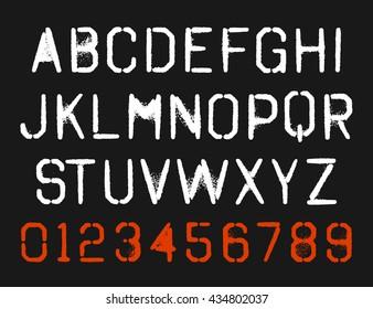 spray paint stencil font type alphabet. vector letter set