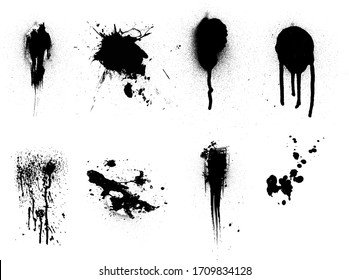 Spray Paint Vector Set Elements isolated to white background