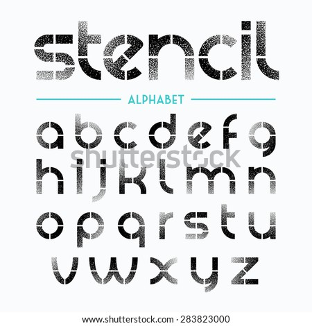 Spray Painted Stencil Alphabet Letters Vector Stock Vektorgrafik