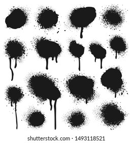 Spray painted texture. Paint splatter dots, graffiti drips and sprayed paints. Street art print, vandalism paint circle splat spot grungy silhouette. Isolated vector symbols set