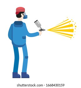 Spray painter professional character spraying yellow paint from paint gun wearing mask and uniform. Flat cartoon style vector illustration isolated on white background.
