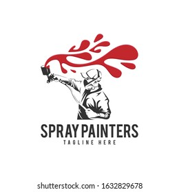 Spray Painters Car with People Logo Vector Icon Illustration