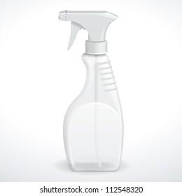 Spray Pistol Cleaner Plastic Bottle White Transparent. Vector EPS10