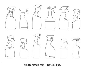 Spray Pistol Cleaner Plastic Bottles. Plastic bottles of cleaning product. Line vector icon bottles of household chemicals and cleaning supplies isolated on white background.
