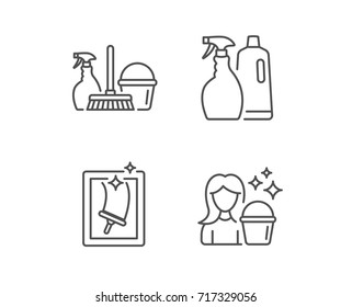 Spray, Window Cleaning and Maid equipment line icons. Bucket, Mop and Housekeeping signs. Quality design element. Editable stroke. Vector