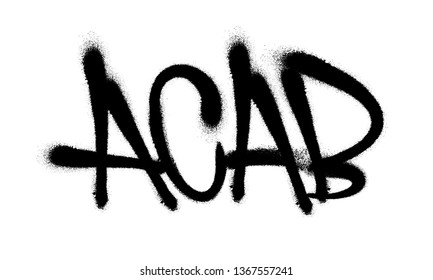 Sprayed ACAB with overspray in black over white. Vector illustration.